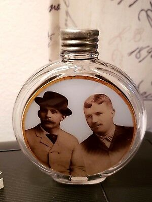 Whiskey Flask Antique Photo Picture of Western Gangsters? Wyatt Earp Doc Holiday