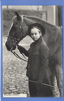 Old Vintage Postcard Princess Prinzessin Charlotte Of Luxembourg With A Horse