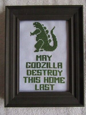 Framed GODZILLA Cross Stitch ~ 5X7 Completed ~ Brown fram ~ Excellent Hand Made