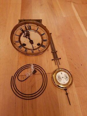 Antique Vienna Wall Clock Movement Fully Working Order With Pendulum & Gong