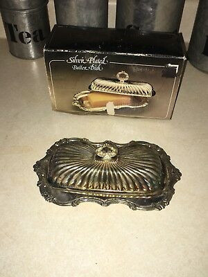 Vintage Silver Plated Butter Dish With Glass Tray