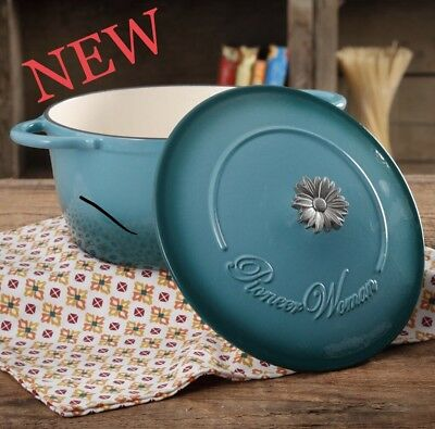 THE PIONEER WOMAN VINTAGE BEAUTIFUL TEAL Gradient 5-Quart Dutch Oven with Daisy