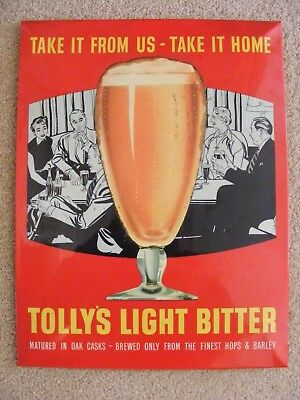 Vintage Tolly's Ipswich, Light Bitter, Show Card.
