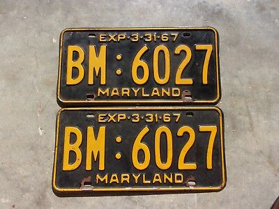 Maryland  1966 / 67 license plate pair  #   BM : 6027