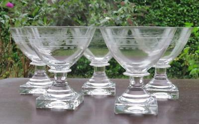 5 Antique Etched Sherbet Glasses Square Base Wafer Stem