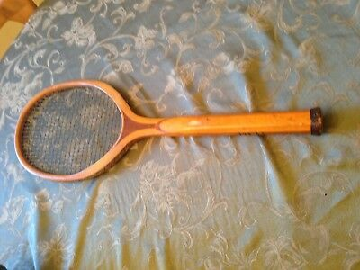 Antique Vintage Early  Solid  Wood Tennis Racquet