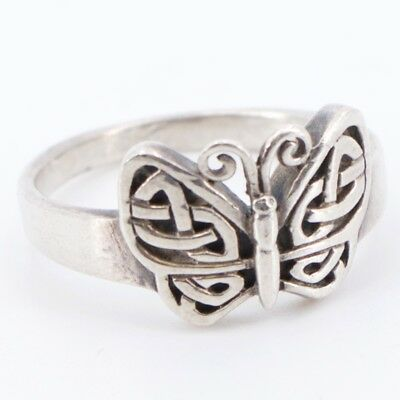 Sterling Silver - PETER STONE Celtic Knot Butterfly Ring Size 8 - 3.7g