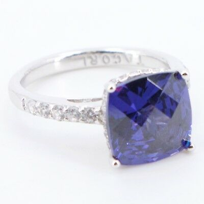 Sterling Silver - TACORI Faceted Blue CZ Cubic Zirconia Ring Size 8 - 5.6g