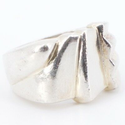 Sterling Silver - Solid Fluted Graduated Ring Size 7 - 8.7g