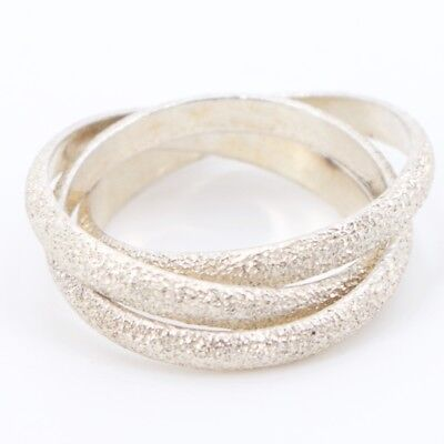 Sterling Silver - Textured Intertwined Bands Ring Size 7 - 5.8g