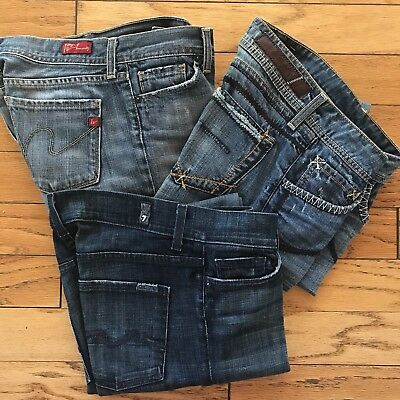 Denim Jeans Citizens Humanity Ingrid Yanuk 7 for all Mankind SZ 26 & 28 lot Of 3