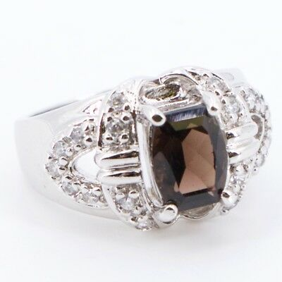Sterling Silver ROSS SIMONS Smokey Quartz CZ Cubic Zirconia Ring Size 7.75 - 8g