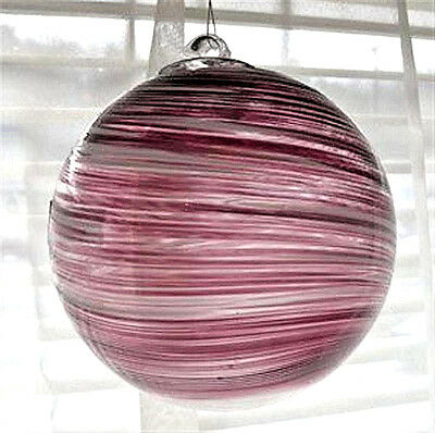 "Hanging Glass Ball 4"" Diameter Purple w/ White Swirls Friendship Ball (1) HB10-2"