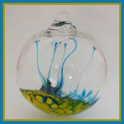 "Hanging Glass Ball 4"" Diameter Yellow & Aqua Tree Witch Ball (1) WB27"