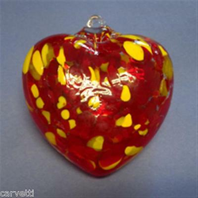 """Hanging Glass Ball 4"""" Clear Glass with Red & Yellow Specks Heart (1) HGB23"""