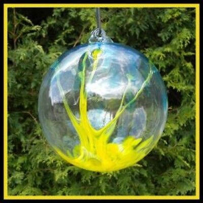 "Hanging Glass Ball 6"" Diameter Yellow & Aqua Tree Witch Ball (1) #27"