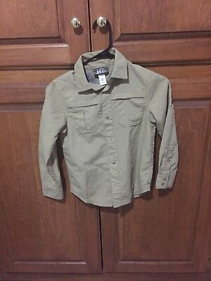 REI Boys Long Sleeve tan Button Up Vented Hiking Shirt Size Small