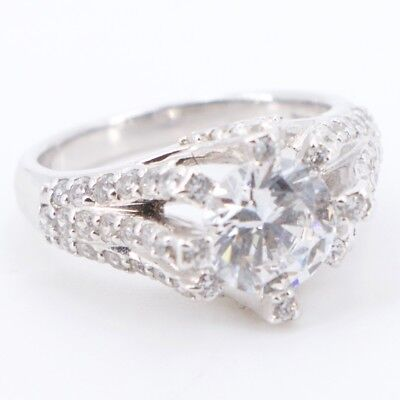 Sterling Silver - CZ Cubic Zirconia Engagement Ring Size 7 - 6.2g