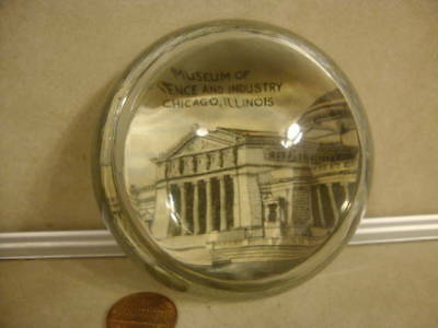 Vintage Glass Advertising Paperweight Museum Science Industry Souvenir Chicago!