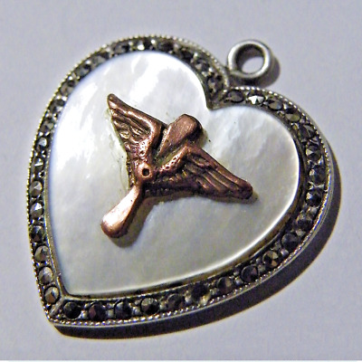 Fab Antique Vintage Silver Mother of Pearl Heart Wings Pilot WWI Edwardian Charm