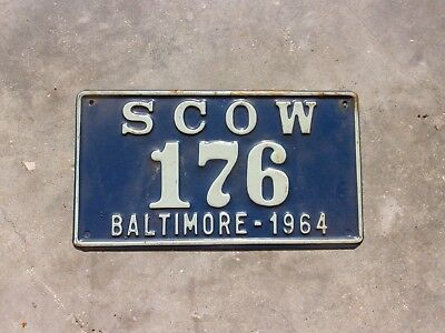 Maryland 1964 Baltimore SCOW license plate #    176
