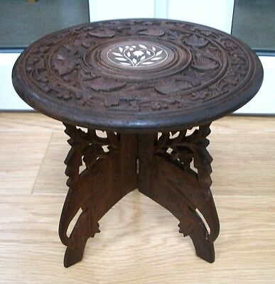 Vintage Anglo/indian Hand Carved, Folding Inlaid Wooden Side Table