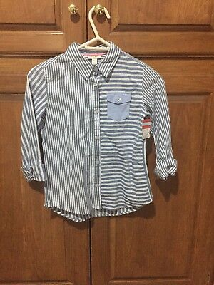 NWT Cat and Jack L Long Sleeve Boy Button Up Shirt