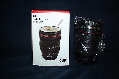 Canon Caniam Camera Lens EF 24-105mm Stainless Steel Travel Coffee Mug Cup NIB
