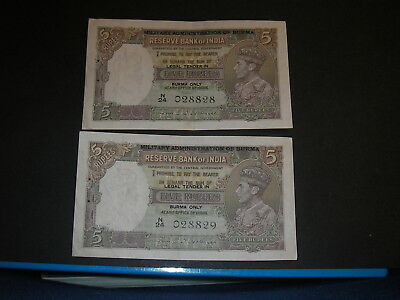 Military Administration Of Burma on Reserve Bank of India 5 Rupees Consecutive