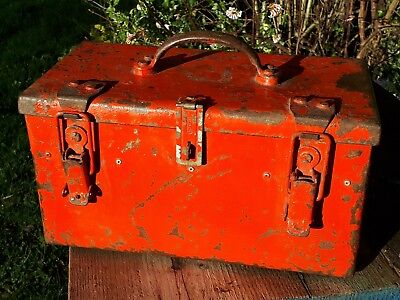 Nice old red metal toolbox with strong clasps and handle