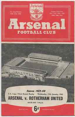 1960-Arsenal V Rotherham United-Utd-1959-60-Fa Cup Third Round Replay-Programme