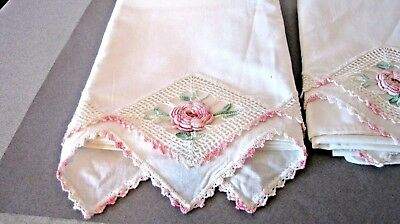 Vintage Hand Crocheted Pink cotton Cabbage roses Lace Pillow cases Standard