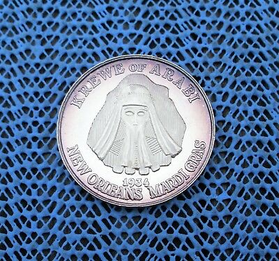 1984 Krewe of ARABI / KING Richard W. Gallardo  999 SILVER Mardi Gras Doubloon