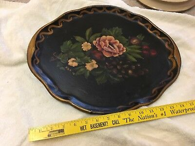 Serving Tray Vintage Hand Painted Flowers Tole Toleware Antique Metal oval 17 X