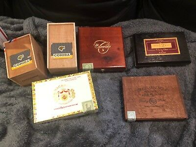 Lot of (6) Empty Wooden Cigar Boxes