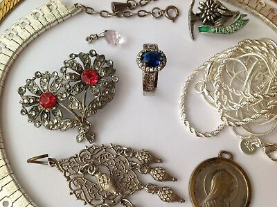 Vintage Jewellery Lot Some Silver Stamped 925 Acqua Bilyfer Pewter & Lots More