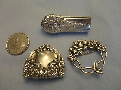 Lot of 3 antique sterling silver brooch pins spoon flower repousse 24 Grams