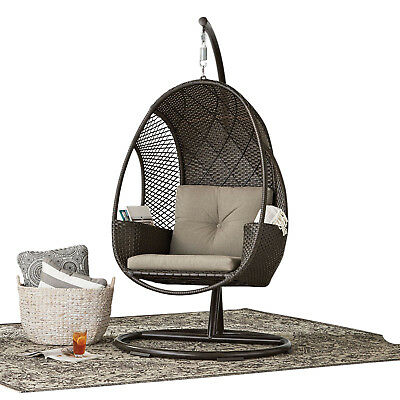 Astonishing Outdoor All Weather Wicker Hanging Egg Chair On Steel Stand W Storage Brown Beutiful Home Inspiration Papxelindsey Bellcom