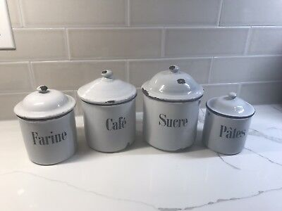 Antique Vintage French Enamel 4 Piece Canister Blue Accent