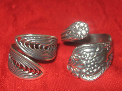 Lot Of 2 Vintage Modern Style Adjustable Silver Spoon Rings Sizes 6-10