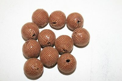 10 Leather beads,   Light brown,  large size, (22 mm),   b1087