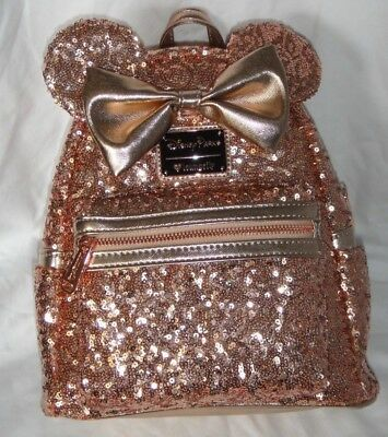 DISNEY PARKS Minnie Mouse ROSE GOLD Ears Sequined Loungefly Backpack
