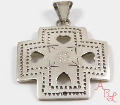 Sterling Silver Vintage 925 Mexican Heart Cross Dangle Pendant (10g) - 745442