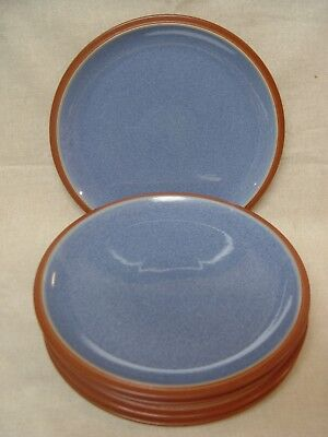 "5 Denby Pottery England 9"" Salad JUICE Plates BLUE All In MINT Condition!"