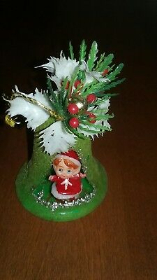 Vintage green flocked bell with Girl diorama Christmas Bell  Ornament