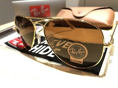 a07a7fa08526b RAYBAN SUNGLASSES PILOT Aviator RB3026 Large 62mm GOLD Frame   BROWN ...