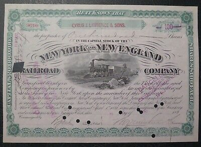 New York and New England Railroad Company, stock certificate, 1892
