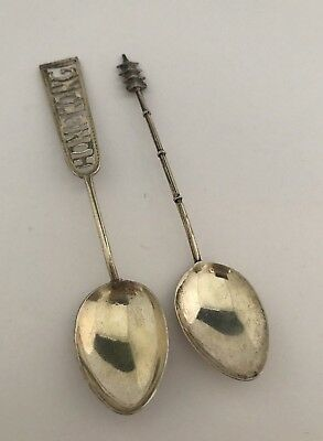 Lot of 2 Vintage Antique Asian Sterling Silver 950 Souvenir Spoons Hong Kong