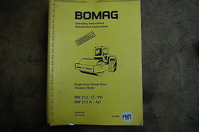 BOMAG BW 213 Roller Compactor Owner Operator Operation Maintenance Manual book d