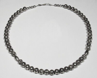 Old Pawn 1930s 925 Silver Navajo Handmade Fluted Round Bench Beads Necklace 19""